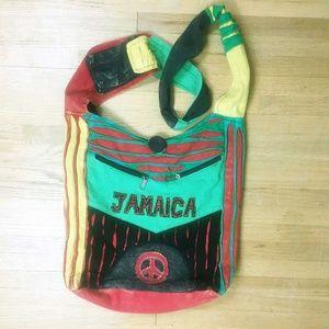 Jamaica Distressed Rasta Boho Crossbody Tote Bag